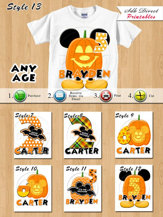 Mickey Mouse Halloween Shirt Printable Mickey Mouse by SDBDIRECT