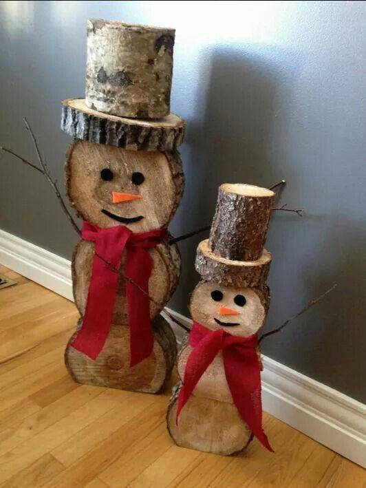Wood slice snowman. #WoodSnowman #LogSnowman #Rustic #Holiday #Winter #Christmas #Decor #DIY #Project