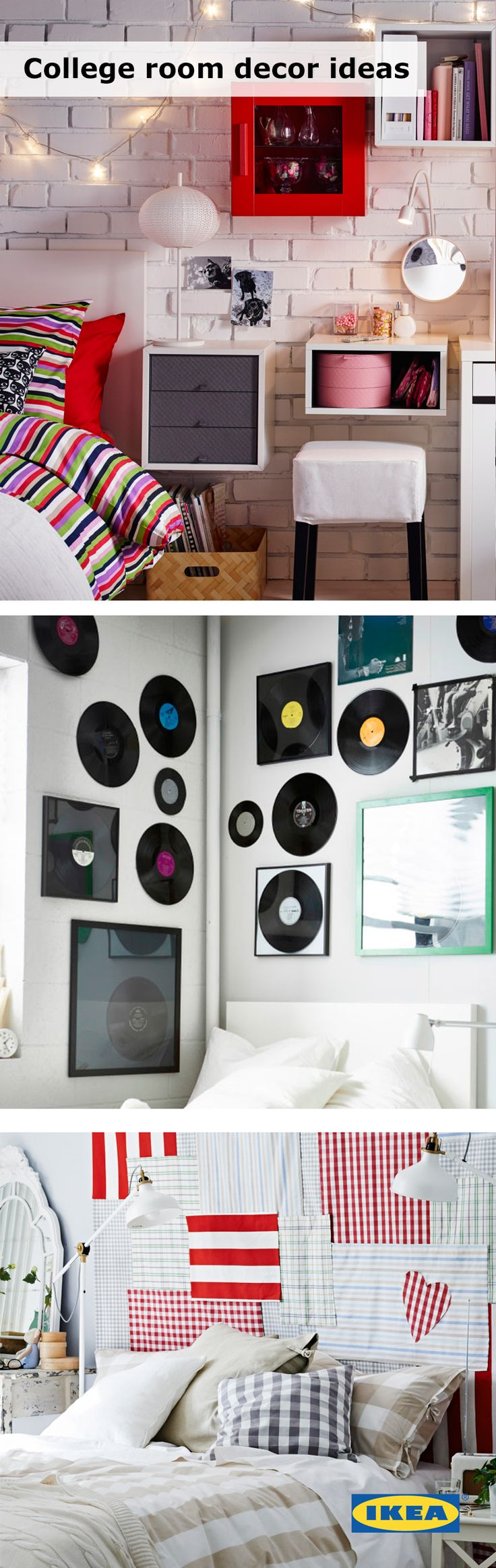 College room decorating 101: Make it yours! Whether you live in a dorm or off-campus, use textiles, lights or even records to decorate your space and make it feel like home! Click for more IKEA ideas to transform your bedroom or study space. #IKEAStudyInStyle