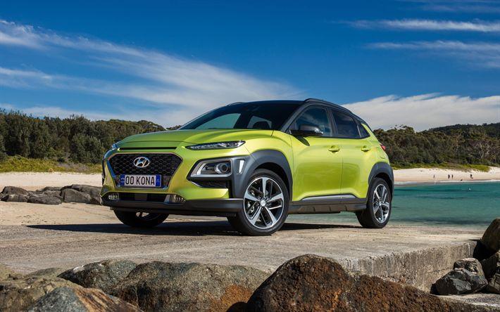 Download wallpapers Hyundai Kona, Highlander, 2018, compact crossover, 4k, new green Kona, South Korean cars, Hyundai