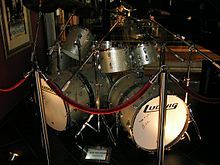 """Bass drums with """"woofers"""" attached. Drum set used by Alex van Halen"""