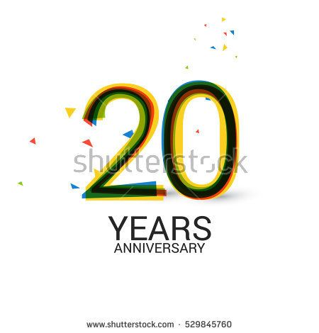 20 Years Anniversary. Layered and Colorful. Logo Celebration Isolated on White Background