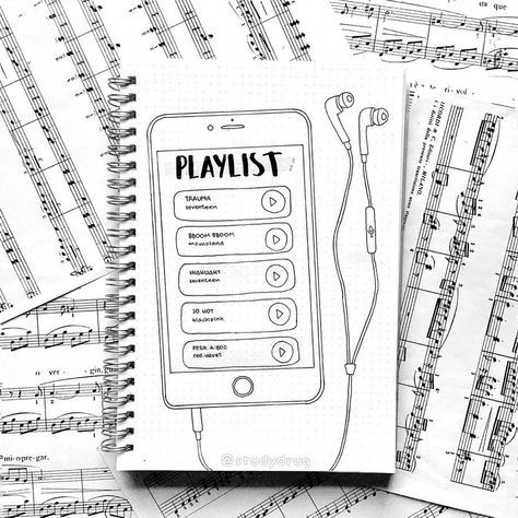 Bullet journal playlist spread, iPhone drawing, ear buds drawing. | @studydrug
