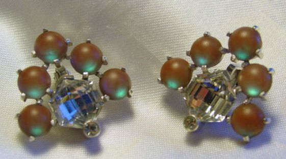 Vintage Art Deco SAPHIRET Cabochon Hexagonal RHINESTONE Earrings,FJT #Cluster