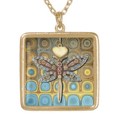 Teal and Gold Glass Blocks Gold Plated Necklace - accessories accessory gift idea stylish unique custom
