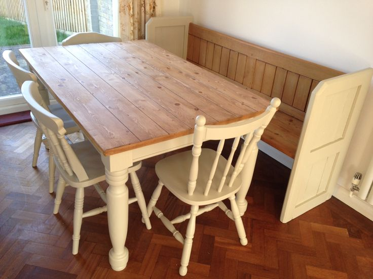 Newly painted table and bench in Farrow and Ball BONE