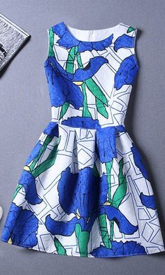 Blue and green printed sleeveless vest dress