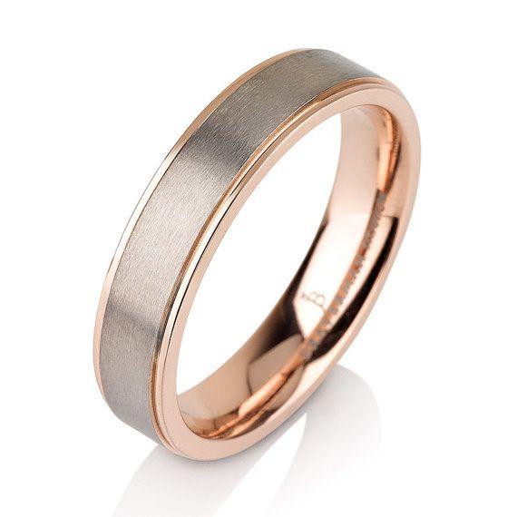 Rare Titanium Brushed Rose Gold Wedding By BravermanOren