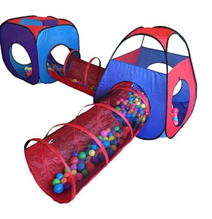 Playz 4pc Pop Up Children Play Tent w 2 Crawl Tunnel & 2 Tents - Kids Play Tents #Playz
