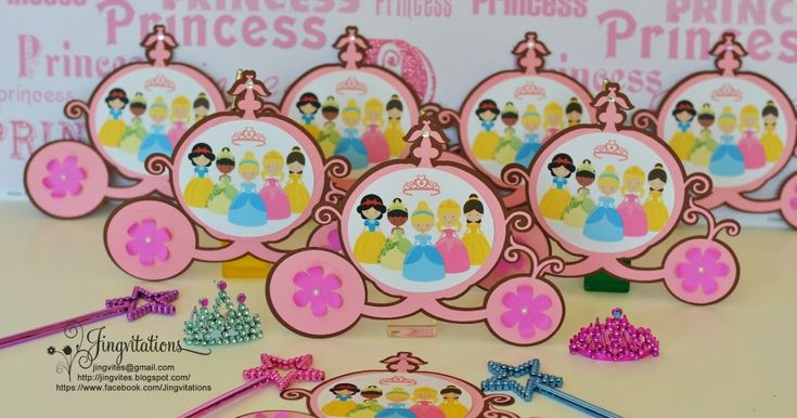 Disney Princess Inspired Carriage Invitations.   Cuteness overload featuring the pretty princesses:   Cinderella, Snow White, Belle, Slee...
