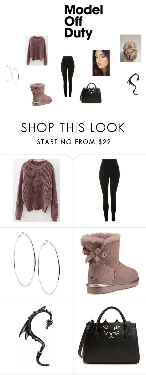 """""""model off duty"""" by sassy-sarah-15 on Polyvore featuring Topshop, GUESS, UGG and Charlotte Olympia"""