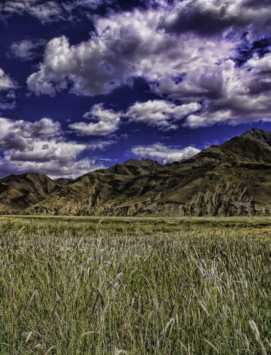 The wide open spaces and blue sky of Tibet.