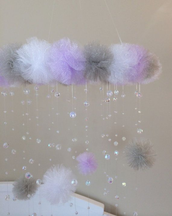Purple and grey crystal baby mobile pom pom от JennabooBoutique