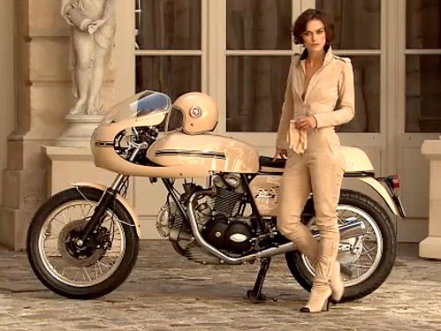 Kaira Knightley on a Ducati 750 Sport - in my head I totally look like this in my bike gear...