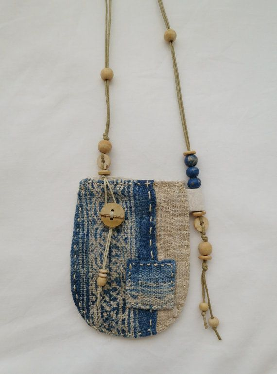 A beautiful patchwork talisman pouch, made using natural indigo dyed, hand woven hemp. www.indinoco.com