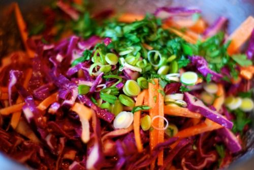 Red Cabbage Slaw with Tangy Carrot-Ginger Dressing  @Kathryn Wilson Ron Nom Paleo