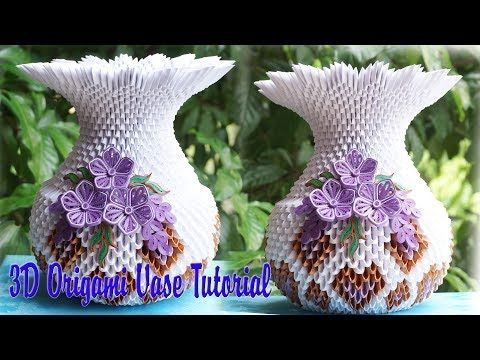 HOW TO MAKE 3D ORIGAMI VASE V1 | DIY PAPER VASE HANDMADE DECORATION TUTORIAL - YouTube