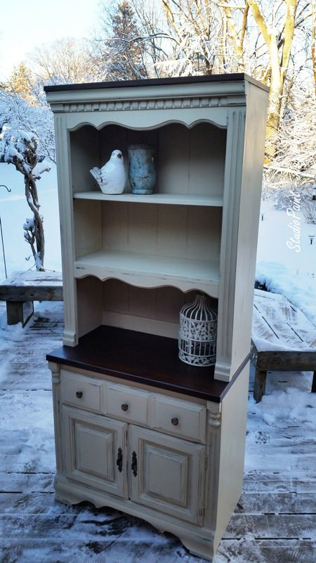 Painted Shabby Chic Hutch  Old Ochre, distressed and waxed to a beautiful sheen. The top of the pine surface has been refinished in an Antique Walnut Gel Stain.