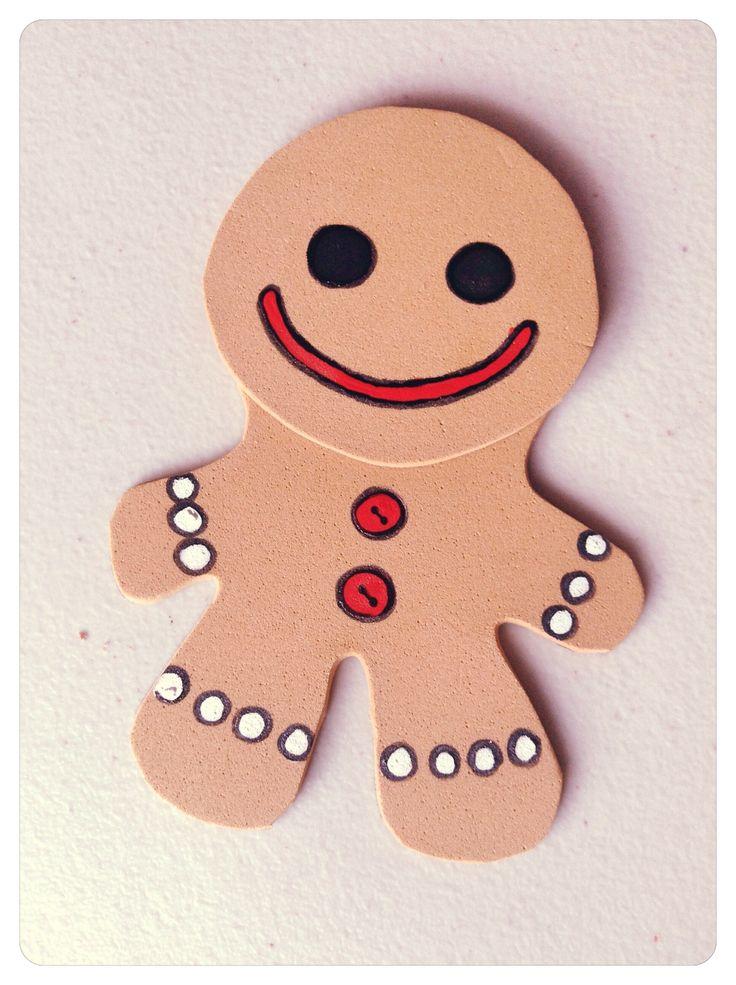 Marcalibros Navideños. Un muñeco de Jengibre en #Foami #EVAfoam #DIY #Navidad #Christmas #Xmas