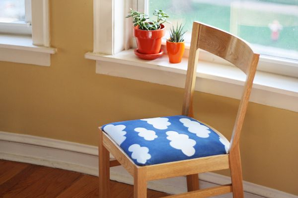 Fun cloud chair fabric made with photo-sensitive dye. Use the sun to print your own fabric with Inkodye | How About OrangeClouds Chairs, Crafts Ideas, Creative Blog, Chairs Fabrics, Diy Chairs, Crafts Tutorials, Prints, Chairs Covers, Fabrics Dyes