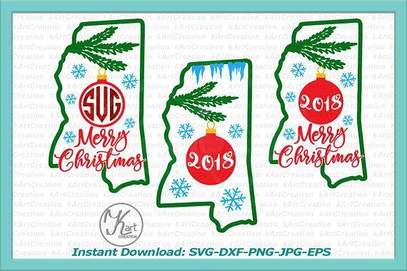 Christmas State Mississippi Svg Mississippi Monogram Christmas Svg Design Christmas Svg