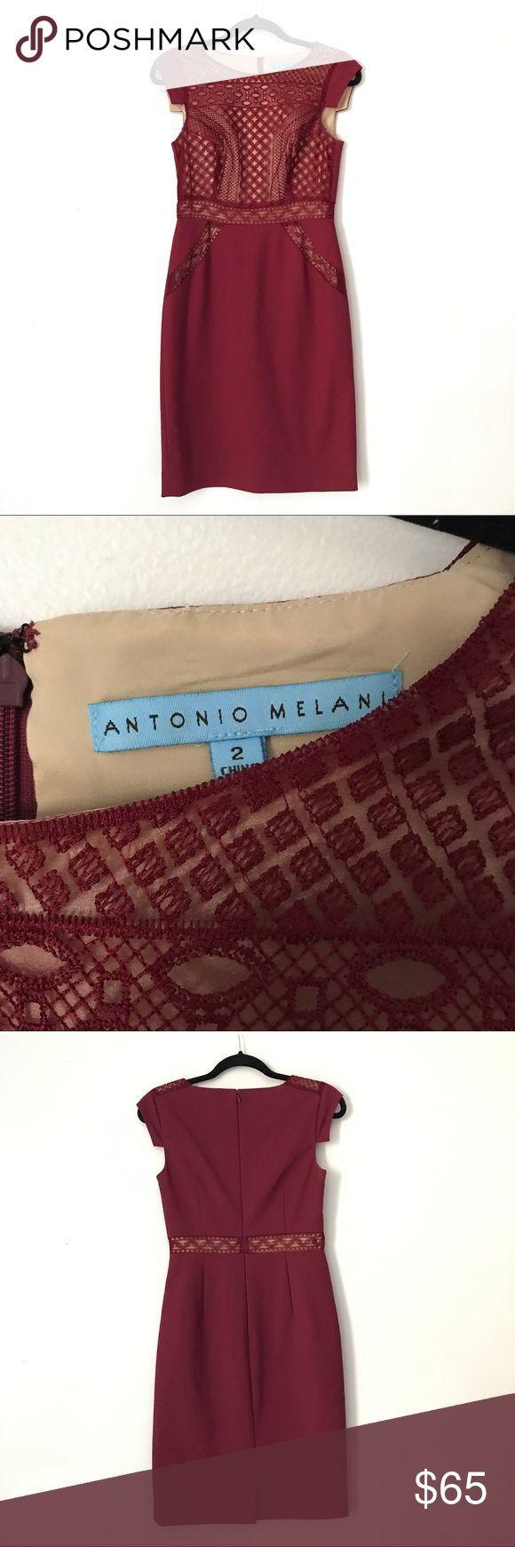 Antonio Melani Wine Lace Cap Sleeve Dress Beautiful wine red colored Lace cap sleeve dress from Antonio Melani. Size 2. Great pre worn condition! No trades or try ons. ANTONIO MELANI Dresses