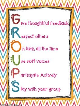 "GROUPS Acronym Poster for Classroom Management. The ""Original"" GROUPS Poster! I decided to post this FREEBIE after the anchor chart from my blog was pinned thousands of times. I wanted to be able to provide teachers with a resource they could print out and use right away if they wanted to implement this classroom management idea!"