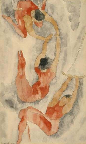 Charles Demuth / Three Acrobats / 1916 / watercolor and graphite on laid paper