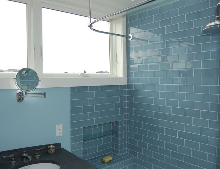 Find This Pin And More On Basement Bathroom Ideas Blue Subway Tiles