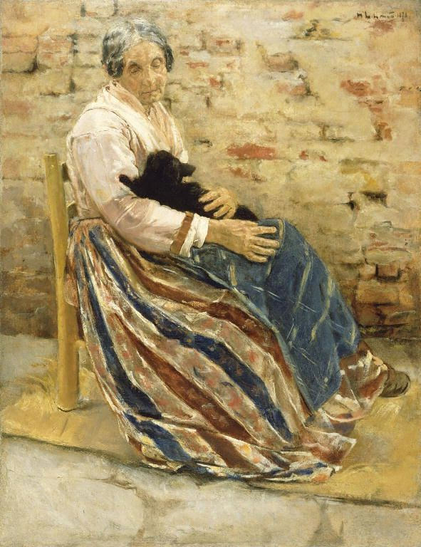 An Old Woman with Cat by Max Liebermann: