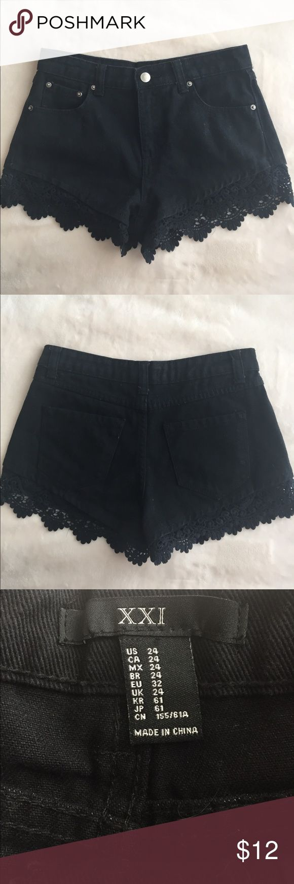 Black Lace Denim Shorts Only worn once! Super cute and the lace trim is very unique. Size 24 or 1 Forever 21 Shorts Jean Shorts