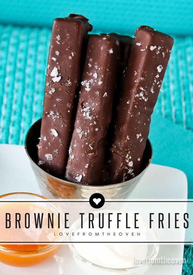 Rich and delicious chocolate truffle brownies, cut into fries and smoothered in chocolate, topped with sea salt?  Yes please!  This chocolate truffle fry recipe is a copycat of Red Robin's Chocolate Brownie Fruffles.  They are so easy, totally delicious and you can make them ahead of time.
