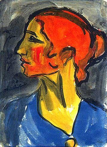 Retrato de mujer pintado por Emil Nolde