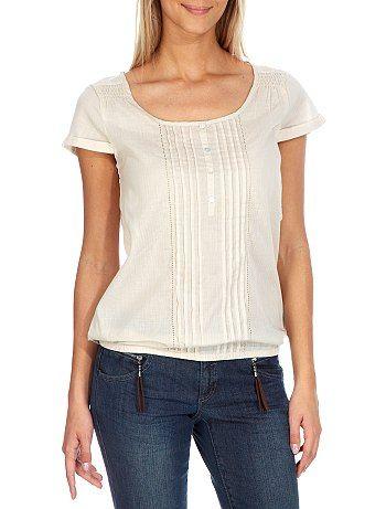 Blusa de gasa de algodón                                                                                                                                                                                                                                                                                                         gris Mujer