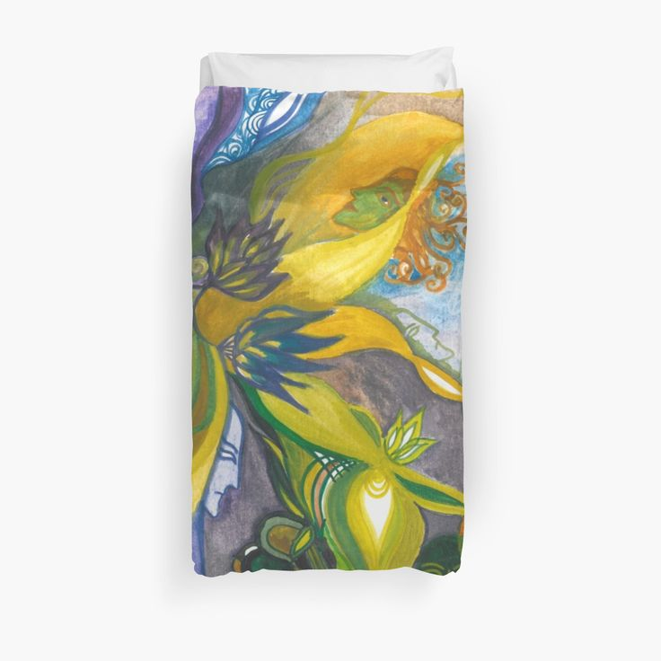Waterlily Masquerade duvet cover (twin size) by Spring-fae  Secrets of the Merpeople Traditional watercolor painting  floral, lily, fantasy, fae, fairy, faerie, lake, sea, blossom, mask, masque, visor, ornamental, flourish, colorful, mermaid, selkie, siren, underwater, merrow, secrets, merfolk, lotus, blue, yellow, purple, green, humanoid, mermaids, mythology, fantastic beasts, whimsical, woodland, water, magical, enchanted, dreamy, aqua, nautical, ocean, imaginary, enigmatic, spirit…