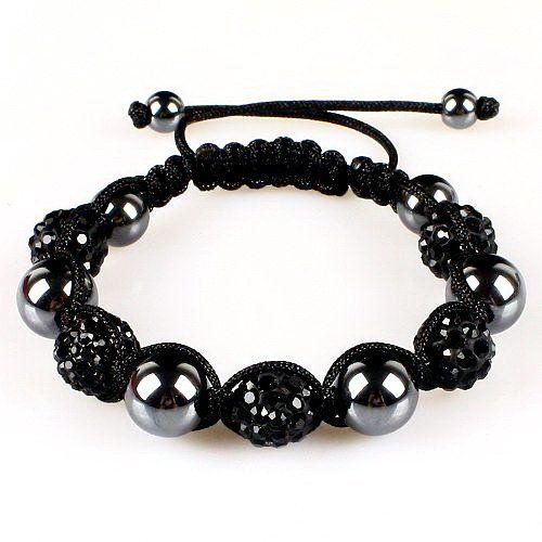 10mm Black Crystals Macrame 5pcs Beaded Shamballa Ball Adjustable Bracelet Shamballa. $6.99. Black  Crystal. Macrame Bracelet. Adjustable. Save 65%!