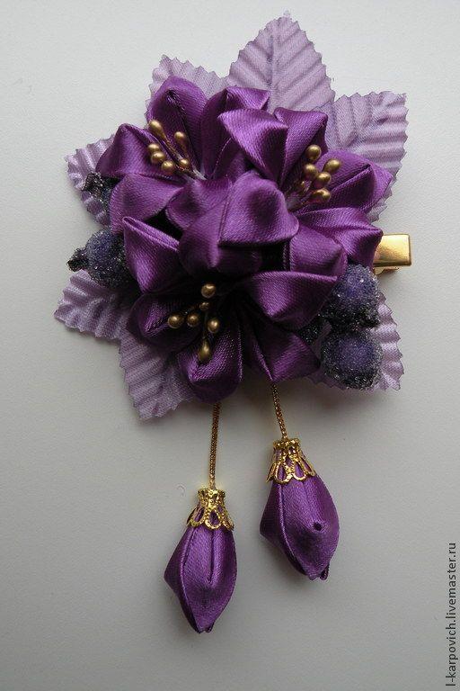 """Купить Заколка """"Букет лилий"""" - тёмно-фиолетовый, однотонный, розовый, синий, лилии, заколка для девочки"""