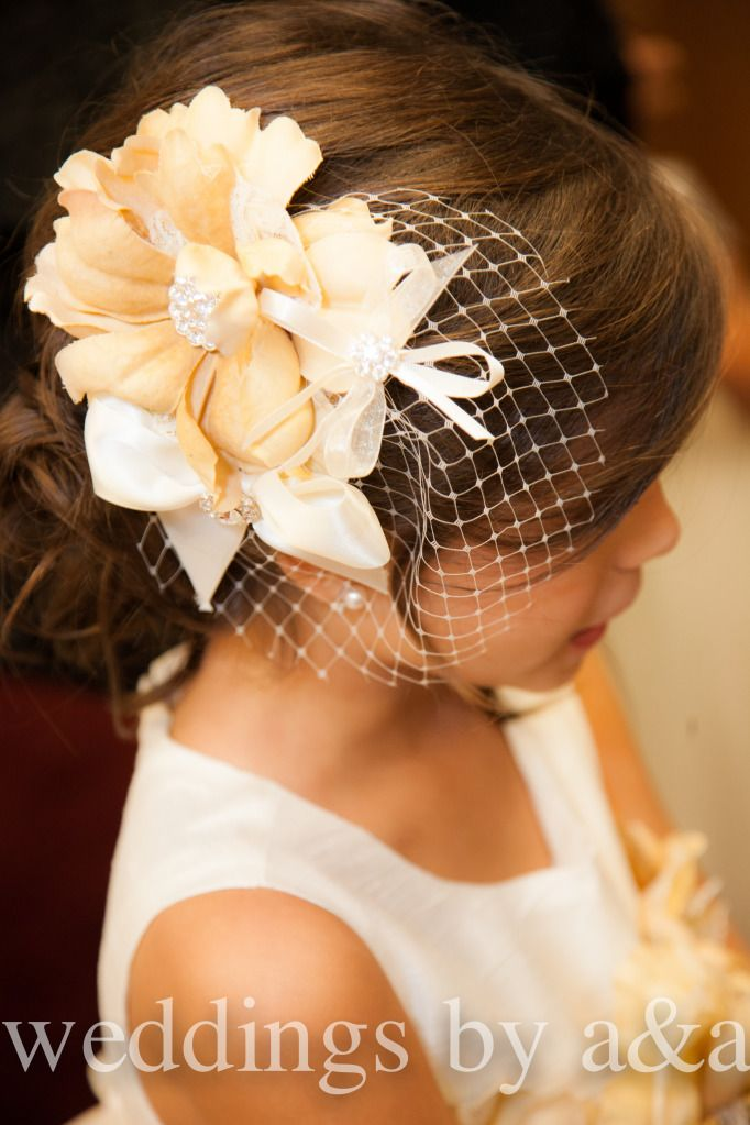 Small bird cage veil for flower girl - Weddings by Adrienne & Amber