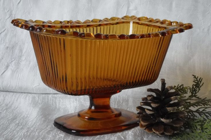Amber Glass Candy Dish / Open Lace Pedestal Style / Rectangle / Vintage Indiana Glass by OriginalVintageGypsy on Etsy