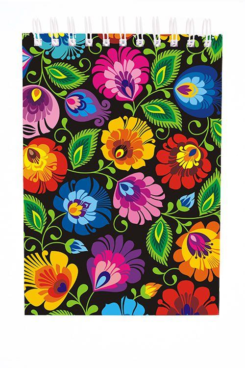 Mały folk notes A6 - łowickie wzory ludowe, drobne kwiatki - czarny