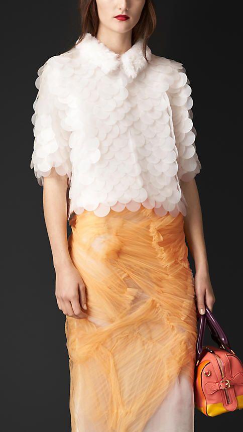 Blanc Veste ornée de sequins opaques avec col en shearling - Image 1