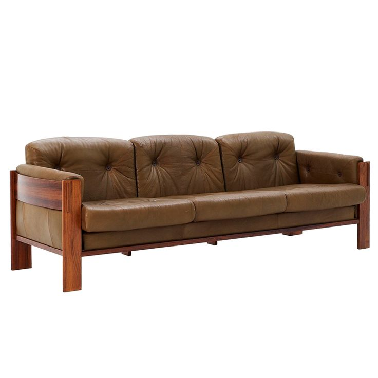 Scandinavian Sofa with Rosewood Frame and Olive Leather | From a unique collection of antique and modern sofas at http://www.1stdibs.com/furniture/seating/sofas/