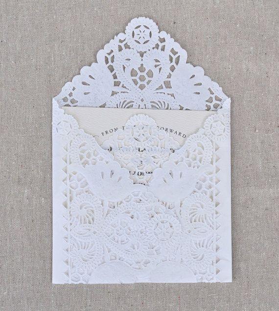 SAMPLE Lace Wedding Invitation Envelope Liner, Paper Doily Lace Invitation Liner, Embellishment, Invitation Envelope. $2.50, via Etsy.