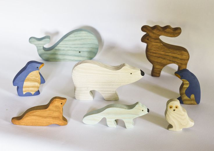 Polar animals set Animal toys Waldorf wooden toys Motor Skills Animal figures Eco friendly educational toys toddler gift Montessori by MikheevManufactory on Etsy