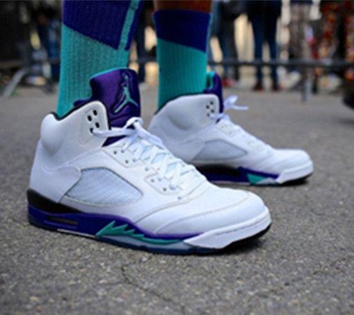 Nike Air Jordan V 5 Retro White Emerald Green Grape Ice Men Women GS Shoes