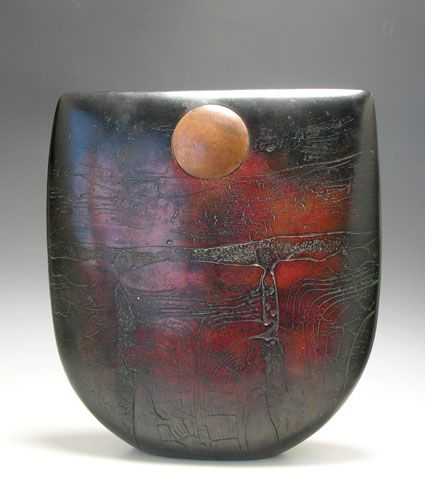 Peter Hayes...one of Britain's most acclaimed ceramicists. His work is quite special he takes his inspiration from ceramic traditions of Africa (smoked and pit fired works) also from Landscapes, textures and beachcombing these elements all play their part in the evolution of his work. Peter say's he tries to achieve opposites of rough and smooth by building up layers of textured clay combined with burnishing and polishing of surfaces.
