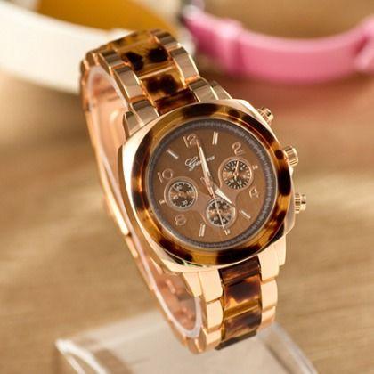 luxe Rosa Geneva horloge met luipaard print