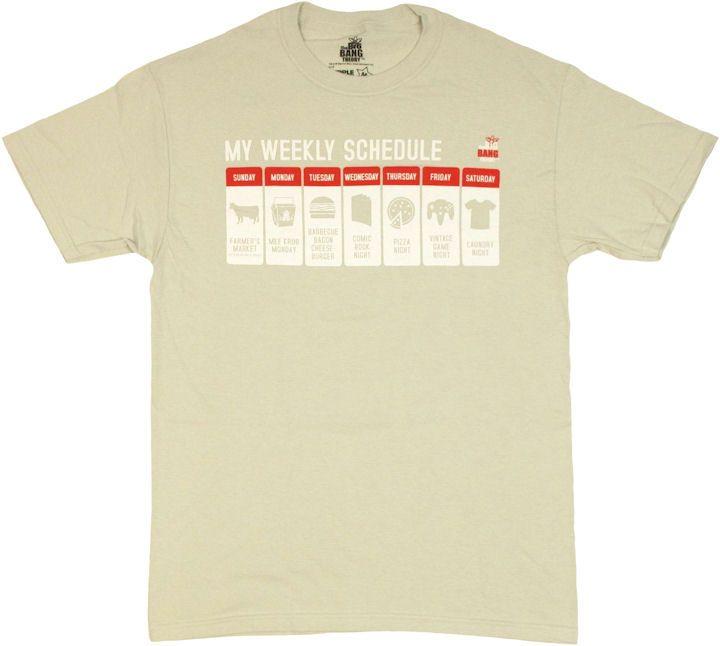 Big Bang Theory Schedule T Shirt $19.88