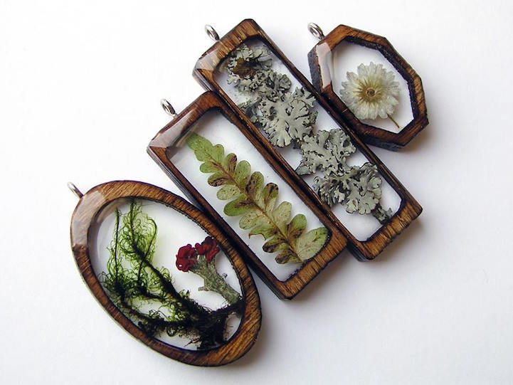 Foraged Pieces of a Michigan Forest Encased in Delicately Laser-Cut Wooden Pendants - My Modern Met