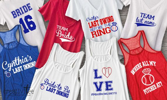 Adorable baseball-themed bachelorette party shirts.  These designs start at $22.00. Message us for your custom listing, wed love to work with